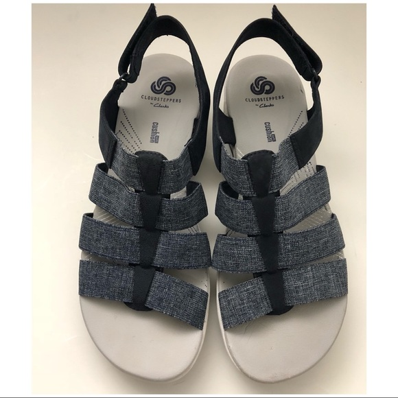 7eb842339a2 Clarks Shoes - Clark Open Toe Sandals Sz 9 Cloud Steppers Navy